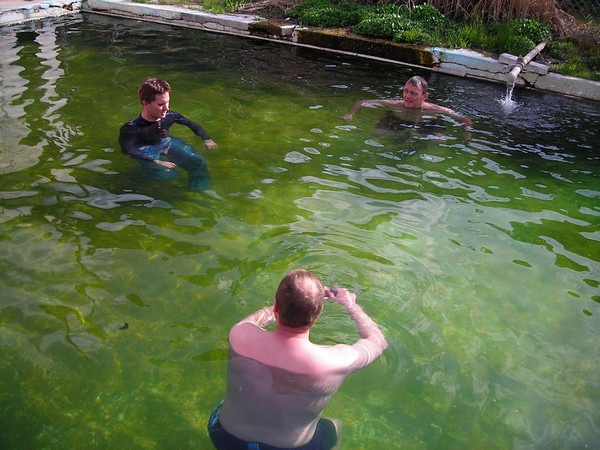 Ryan, Sam and Dwight enjoying the pristine waters of Murphy hot springs.